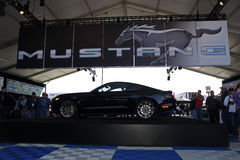 50th Anniversary Mustang GT facing left. Black 50th Anniversary Model Ford Mustang on display at Charlotte Motor Speedway event stock photos