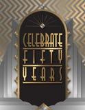 50th Anniversary Party Art Deco Flyer. 50th Fifty Anniversary Party Flyer Art Deco Gold Silver Elegant Celebrate Celebration diamond bash poster vector stock illustration