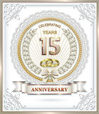15th anniversary. Postcard to the 15 anniversary of wedding rings in with beautiful frame Royalty Free Illustration