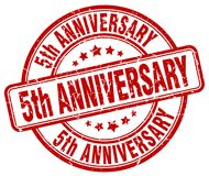 5th anniversary red stamp. 5th anniversary red grunge round stamp isolated on white background royalty free illustration