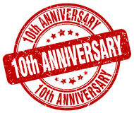 10th anniversary red stamp. 10th anniversary red grunge stamp stock illustration