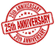 25th anniversary red stamp. 25th anniversary red grunge stamp Stock Photos