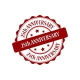 25th anniversary eat stamp illustration. 25th anniversary red stamp seal stamp illustration Royalty Free Stock Photo