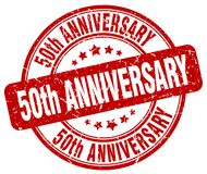 50th anniversary red stamp. 50th anniversary red grunge round stamp isolated on white background vector illustration