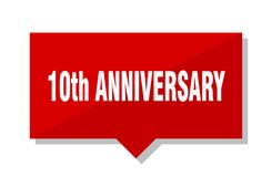 10th anniversary red tag. 10th anniversary red square price tag Stock Images