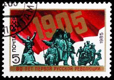 80th Anniversary of 1905 Revolution, circa 1985. MOSCOW, RUSSIA - MAY 25, 2019: Postage stamp printed in Soviet Union (Russia) devoted to 80th Anniversary of royalty free stock photo