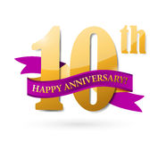 10th anniversary ribbon illustration design. Over a white background Stock Photos