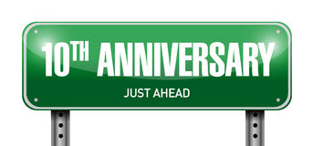 10th anniversary road sign illustration. Design over a white background Stock Image