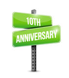 10th anniversary road sign illustration design. Over a white background Royalty Free Stock Image