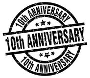 10th anniversary round black stamp. 10th anniversary round grunge black stamp vector illustration