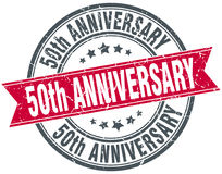 50th anniversary round grunge stamp Stock Images