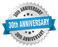 30th anniversary round isolated  badge. 30th anniversary round isolated silver badge Royalty Free Stock Image