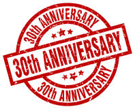 30th anniversary round red stamp. 30th anniversary round red grunge stamp Royalty Free Stock Images