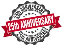 25th anniversary seal. stamp. 25th anniversary round seal isolated on white background Royalty Free Stock Image