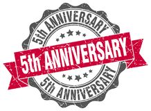 5th anniversary seal. stamp. 5th anniversary round seal isolated on white background. 5th anniversary royalty free illustration