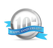 10th anniversary seal and ribbon illustration. Design over white Royalty Free Stock Photo