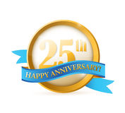 25th anniversary seal and ribbon illustration Stock Photography