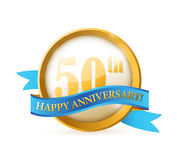 50th anniversary seal and ribbon illustration. Design over white Stock Photos