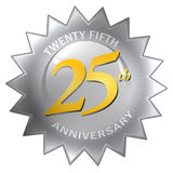 25th Anniversary Seal. A silver twenty fifth 25th anniversary seal isolated over a white background Royalty Free Stock Photography