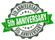 5th anniversary seal. stamp. 5th anniversary round seal isolated on white background royalty free illustration