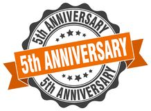 5th anniversary seal. stamp. 5th anniversary round seal isolated on white background stock illustration