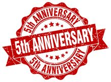 5th anniversary seal. stamp. 5th anniversary round seal isolated on white background vector illustration