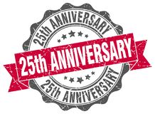 25th anniversary seal. stamp. 25th anniversary round seal isolated on white background Stock Image