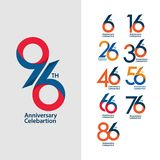 96 th Anniversary Set Celebration Vector Template Design Illustration