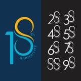 18th Anniversary Set Vector Template Design Illustration royalty free illustration