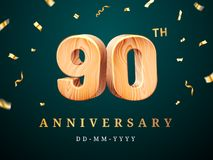 90th anniversary sign with falling confetti. Ninetieth year for business celebration or wooden centesimal company quality sign. Advertisement and vector illustration