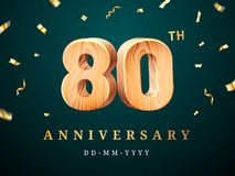80th anniversary sign with falling confetti. Eightieth year for business celebration or wooden centesimal company quality sign. Advertisement and stock illustration