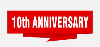 10th anniversary. Sign.  paper origami speech bubble.  tag.  banner Stock Illustration