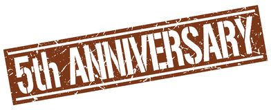 5th anniversary stamp. 5th anniversary square grunge sign isolated on white.  5th anniversary Stock Image