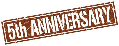 5th anniversary stamp. 5th anniversary square grunge sign isolated on white. 5th anniversary royalty free illustration