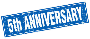 5th anniversary square stamp Royalty Free Stock Images
