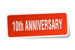 10th anniversary sticker. 10th anniversary square sticker isolated on white background. 10th anniversary Royalty Free Illustration