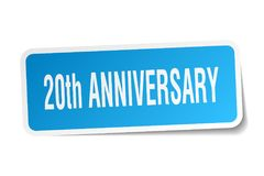 20th anniversary sticker. 20th anniversary square sticker isolated on white background. 20th anniversary Royalty Free Stock Photography