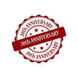 20th anniversary stamp illustration. 20th anniversary red stamp seal stamp illustration Stock Photo