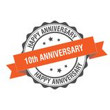 10th anniversary stamp illustration. 10th anniversary stamp seal illustration design stock illustration