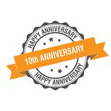10th anniversary stamp illustration. 10th anniversary stamp seal illustration design Stock Photos