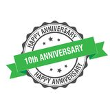 10th anniversary stamp illustration. 10th anniversary stamp seal illustration design Royalty Free Stock Images