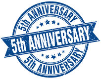 5th anniversary stamp. 5th anniversary round grunge ribbon stamp isolated on white background stock illustration