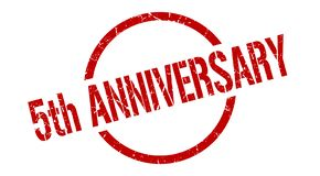 5th anniversary stamp. 5th anniversary round grunge stamp. 5th anniversary sign. 5th anniversary stock illustration