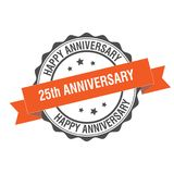 25th anniversary stamp illustration. 25th anniversary stamp seal illustration design Stock Photo
