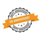 5th anniversary stamp illustration Royalty Free Stock Image