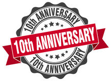 10th anniversary stamp. Sign. seal royalty free illustration