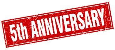 5th anniversary stamp. 5th anniversary square grunge stamp. 5th anniversary sign. 5th anniversary vector illustration