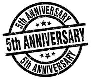 5th anniversary stamp. 5th anniversary grunge vintage stamp isolated on white background. 5th anniversary. sign stock illustration
