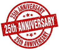 25th anniversary stamp. 25th anniversary grunge vintage stamp isolated on white background. 25th anniversary. sign Royalty Free Stock Images