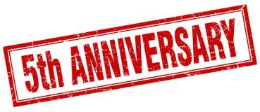 5th anniversary stamp. 5th anniversary square grunge stamp. 5th anniversary sign. 5th anniversary royalty free illustration